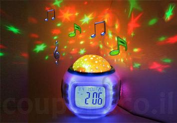 מוצר חובה לחדר הילדים! שעון מקרןהמשמיע מוזיקה מרגיעהומקרין...