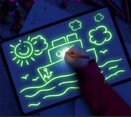 הילדים עפים על זה! לצייר עם אור! משטח / לוח ציור זוהר בחושך להנאה, להתפתחות ולימוד! ב79 ש