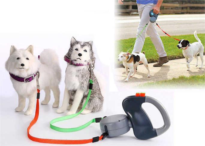 לטייל עם הכלבים בנוחות ובקלות! רצועה נמתחת מתפצלת להולכת 2 כלבים עם חזרה אוטומטית ב149 ש