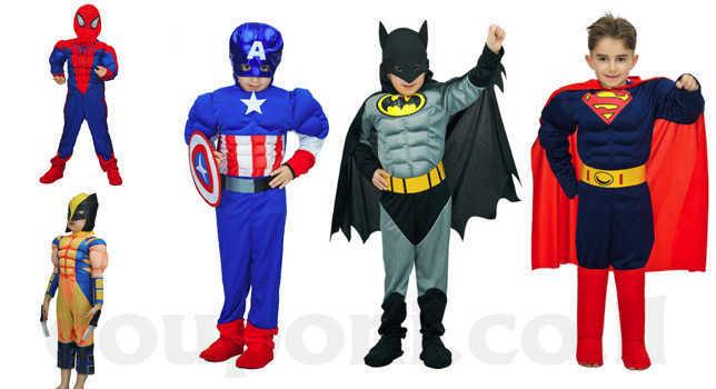 תחפושת גיבורי על לילדים סופרמן/ באטמן/ קפטן אמריקה/ ספיידרמן...
