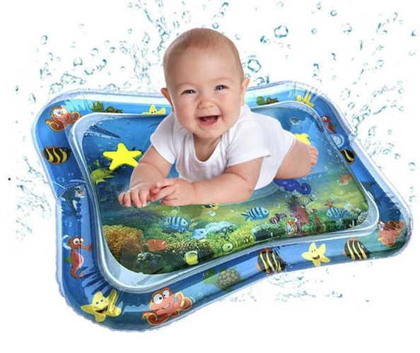 מזרון מים לתינוקות, משחק מים מתנפח עם דגים להנאה והתפתחות התינוק ב59 ש